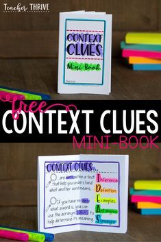 Teach your students the five basic types of context clues; Inference, Definition, Example, Antonym, and Synonym [IDEAS}