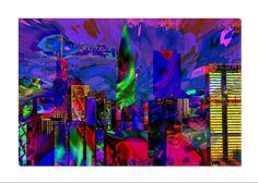 """Gorgeous multicolor digital art that depicts skyscrapers. Add beauty to any room with this gorgeous canvas wrapped art print. Features: • UV-coating, scratch resistant • 1.25"""" thick edges • Ready to h"""