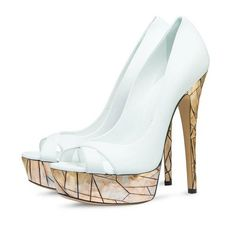 c5c01cd5e63 Women s Lillian White Golden Lattice Bridesmaid Platform Peep Toe Heels  Stiletto Heel Wedding Shoes