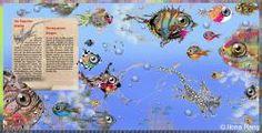 cute little fish dragon swimming among big fishes, in aquarium, fantasy, children illustration
