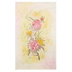 Painting on natural silk Peony batik art flowers yellow от LekaArt, $80.00