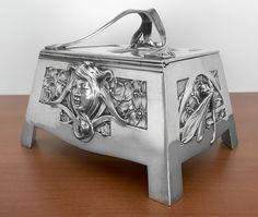 Rare Silver Art Nouveau Jugendstil Sugar Box by P. Bruckmann & Sohne…