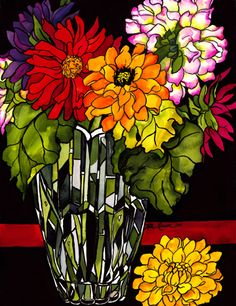 glass flowers in vase mosaic by Kate Larsson Mosaic Crafts, Mosaic Projects, Mosaic Art, Mosaic Glass, Mosaic Tiles, Mosaics, Glass Vase, Mosaic Flowers, Glass Flowers
