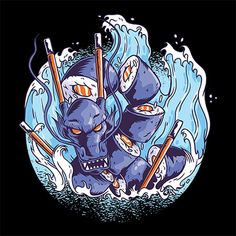 This streetwear style shows a Japanese sushi dragon. It's an amazing design for all fans of Asian culture. ( - Me Wicked Clothes Collection. Design Dragon, Graffiti Doodles, Japanese Artwork, Sushi Art, Japanese Sushi, Japanese Dragon, Illustration Vector, Japanese Graphic Design, Food Japan