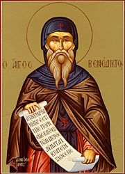 Saint Benedict of Nursia ...    You were enriched with God's grace;   Your works agreed with your name,   O Benedict, helpful servant of Christ God.   Through prayer and fasting you were revealed to be filled with the gifts of the Spirit of God!   You are a healer of the sick, the banisher of demons and speedy defender of our souls!