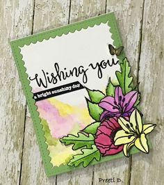 Floral card (inspired by Vanessa Menhorn's card for winnie and walter) #winniewalter #winnieandwalter #flowers #butterfly #stamping #card #greetingcard #cardmakers #cardmaking #watercoloring #creativity #ink #stamps #paper #cardmaking