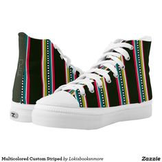 Multicolored Custom Striped High-Top Sneakers