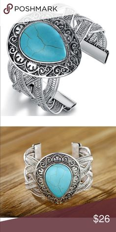 "🌻 NEW ARRIVAL....... CUFF BRACELET This is a gorgeous silvertone and blue howlite teardrop filigree cuff bracelet that will craft a winning look for your Southwest-inspired look.  Charm is 2.5""H X 1.5""W and made of did rhodium-plated brass.  BRAND NEW AND NEVER WORN!  (PO-818) Jewelry Bracelets"