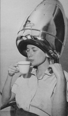 Grace Kelly enjoying a cup of coffee and getting her hair done while making Rear Window in 1953 #hairdryer #beautyparlor #celebrity #celebrities - Carefully selected by GORGONIA www.gorgonia.it