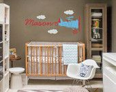 Vintage Airplane Wall Decal Skywriter for Nursery Baby Children, Custom nursery vinyl wall decals,Kids&teens room, Removable decals stickers