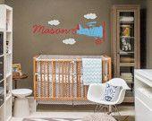 Vintage Airplane Wall Decal Skywriter for Nursery Baby Children, Custom nursery vinyl wall decals,Kids&teens room, Removable decals stickers