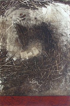 """Takahiko Hayashi, Considering """"Enku""""-The Movement, copperplate print with chine colle'( etching)"""