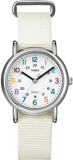 """Timex Women's T2N837 """"Weekender"""" White Nylon Strap Watch with Multi-Color Numerals, Disclosure: Affiliate Link...$29.16"""