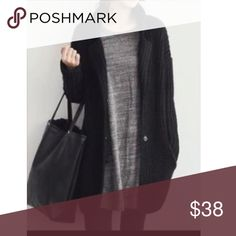 Black open knit cardigan Loose fit gorgeous black 100% cotton loose fit knit sweater open cardigan PLEASE Use the Poshmark new option you can purchase and it will give you the option to pick the size you want ( all sizes are available) BUNDLE and save 10% ( no trades price is firm unless bundled) Jackets & Coats