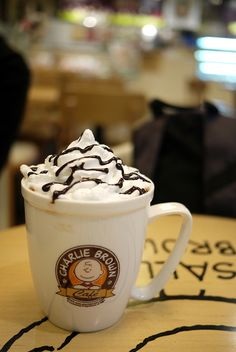 """lovesouthkorea: """"Charlie Brown Theme Cafe in Hongdae, Seoul (source) """" Coffee And Donuts, Coffee Cups, Singapore Exchange, Charlie Brown Cafe, But First Coffee, South Korea, Seoul, Snoopy, Restaurant"""