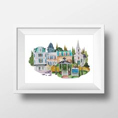 Wall Art Stars Hollow Watercolor Print,Gilmore Girls,Lorelai and Rory,Gilmore Girls Poster,Gilmore Girls Town,Printable,Lukes Diner,Gazebo by WatercolorWall on Etsy https://www.etsy.com/listing/561755251/wall-art-stars-hollow-watercolor