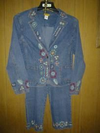 RUBY R D v cute jeans suit stretch with cotton size 10 free ship 4 $ 24.99 chest 40' waist 36'