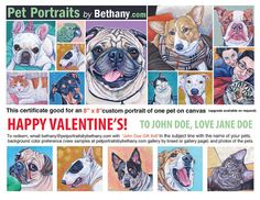 Custom Pet Portrait Painting Gift Certificate for Dog, Cat, Any Pet in Acrylic on Canvas. Price includes Shipping. Valentine's Day Dog Lover Gift from Pet Portraits by Bethany