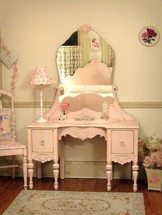 Pin for Later: French shabby chic furniture. Pretty in Pink Vanity with Mirror and Chair. Pretty in Pink Vanity with Mirror and Chair. Pin For Later French Shabby Chic Furniture Pretty In Pink