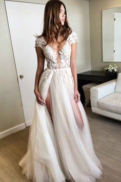 White lace tulle prom dress, ball gown, cute v-neck long dress with slits