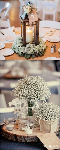 Rustic baby's breath wedding centerpieces #wedding #weddingideas #weddinginspiration #weddingcakes #rusticweddingcenterpieces