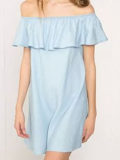 Blue Off Shoulder Shift Dress//