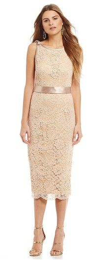 31fd1b08489 Romantic Lace Mother of the Bride Tea Length Dress y Allen Schwartz http