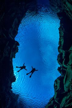 Diving between two tectonic plates in southern Iceland..