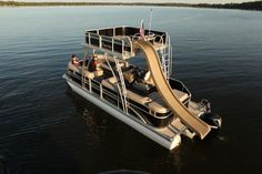 Premier Pontoon party barge with slide. Pontoon Party, Indiana, Party Barge, Cool Boats, Boat Stuff, Upper Deck, Lake Life, Water Crafts, Fishing Boats