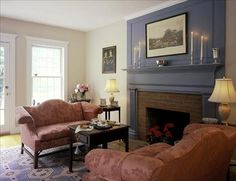 Creamy blue gray on a perfect mantle.  Mr. Darcy on his way I am sure.