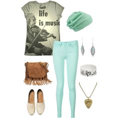 Music is life by ooakforest on Polyvore featuring Tommy Hilfiger, TOMS, Forever 21, Electric Picks, Bling Jewelry and maurices