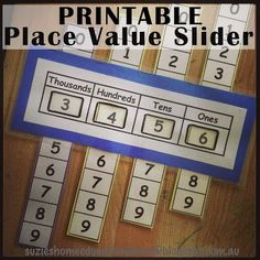Printable Place Value Slider - plus instructions on how to make it from Suzie's Home Education Ideas