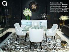 #ExperienciaMatisses: Este set de comedor refleja un estilo contemporáneo a través de la forma y el color de las sillas. Los decorativos como el tapete con textura cautivadora, le da al ambiente elegancia y sofisticación.