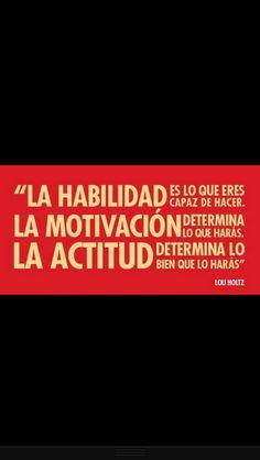 """""""La habilidad es lo que eres capaz de hacer, la Motivacion determina lo que haras, la Actitud derermina lo bien que lo haras"""""""