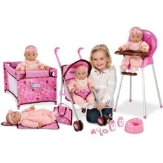 Graco Baby Doll Playset - Stroller, Swing, Pack N Play Lite Playpen, Tray, Potty, Travel Bag, 2 Baby Monitors, 3 Doll Accessories