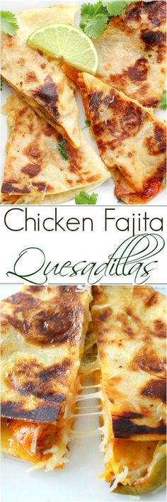 Do you love chicken fajitas? Do you love quesadillas? Combine the two and you … Do you love chicken fajitas? Do you love quesadillas? Combine the two and you have one amazing quesadilla you'll want to make over and over! I Love Food, Good Food, Yummy Food, Tex Mex, Mexican Dishes, Mexican Food Recipes, Tacos, Quesadilla Recipes, Chicken Fajita Quesadilla Recipe