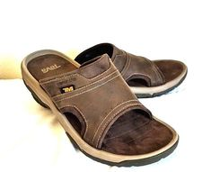 bd17d49771e5 Teva Mens Sandals Size Us 11 UK10 Langdon Slide Walnut Leather Upper Casual   Teva
