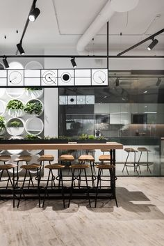 The Office for DPG Creative Communications Agency in Moscow, Russian Federation by T+T Architects Industrial Office Design, Modern Office Design, Workplace Design, Office Designs, Cafeteria Design, Office Interior Design, Office Interiors, Interior Decorating, Lounge Design