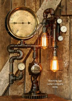 about Steampunk Vintage Loft Industrial Pipe Lamp w/ Pressure Guages & Light Bulb Steampunk Lamp Industrial Machine Age Steam Gauge Light Train Nautical Loft Gear