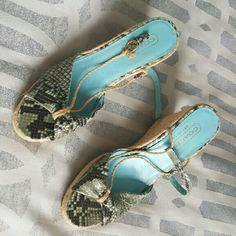 Coach snakeskin style espadrilles Size 7 Teal and natural wedges Broken strap on one side Coach Shoes Wedges