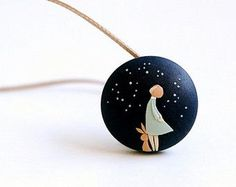 Starry Night. Sweet little hand made polymer clay pendant. Made to order wearable art.