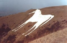 A giant white horse drawn on an English hillside may not have been intended to be a horse at all