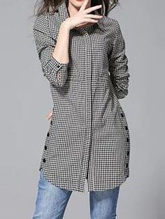 Button Up Plaid Print Turndown Collar Curved Shirt - Moda Stylish Dresses For Girls, Stylish Dress Designs, Fashion Pants, Hijab Fashion, Fashion Dresses, Kurta Designs Women, Blouse Designs, Look 80s, Stil Inspiration