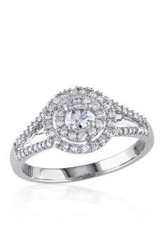 Belk  Co. White Gold 12 ct. t.w. Diamond Engagement Ring in 14k White Gold