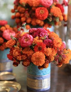 Fifty Shades of Orange {Wedding Inspiration} Marigold, floral centerpieces of peony Marigold Wedding, Indian Wedding Flowers, Wedding Colors, Indian Theme, Indian Wedding Theme, Garden Wedding Decorations, Stage Decorations, Indian Wedding Centerpieces, Simple Centerpieces