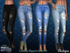 LINDSAY RIPPED JEANS v2 at Cleotopia • Sims 4 Updates