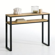 HIBA Solid Oak and Steel Console Table LA REDOUTE INTERIEURS . Inspired by industrial furniture of yesteryear. You will love the clean lines and the aged, vintage look that's bang. Steel Furniture, Diy Furniture, Modern Furniture, Furniture Design, Furniture Assembly, Console Furniture, Furniture Dolly, Furniture Layout, Upcycled Furniture