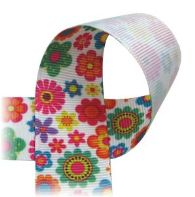 Blossoms - Printed Ribbon - multi-color flowers