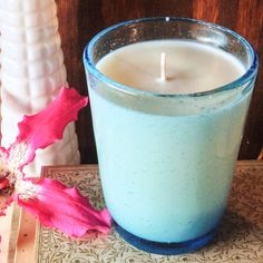 Flowerbomb- Mexican Handblown Sky Blue Bubble Glass Soy Candle  by reSOYcle, $10.00