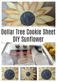 Dollar Tree Foil Tray – Sunflower Farmhouse Wall Art This tutorial shows you how to make a tin sunflower using tin throw away cookie sheets or oven sheets from the Dollar Tree store. For this tutorial you will need some sharp scissors, I do not recom… Dollar Tree Decor, Dollar Tree Crafts, Dollar Tree Store, Dollar Stores, Dollar Tree Flowers, Dollar Items, Kids Crafts, Diy And Crafts, Art Crafts